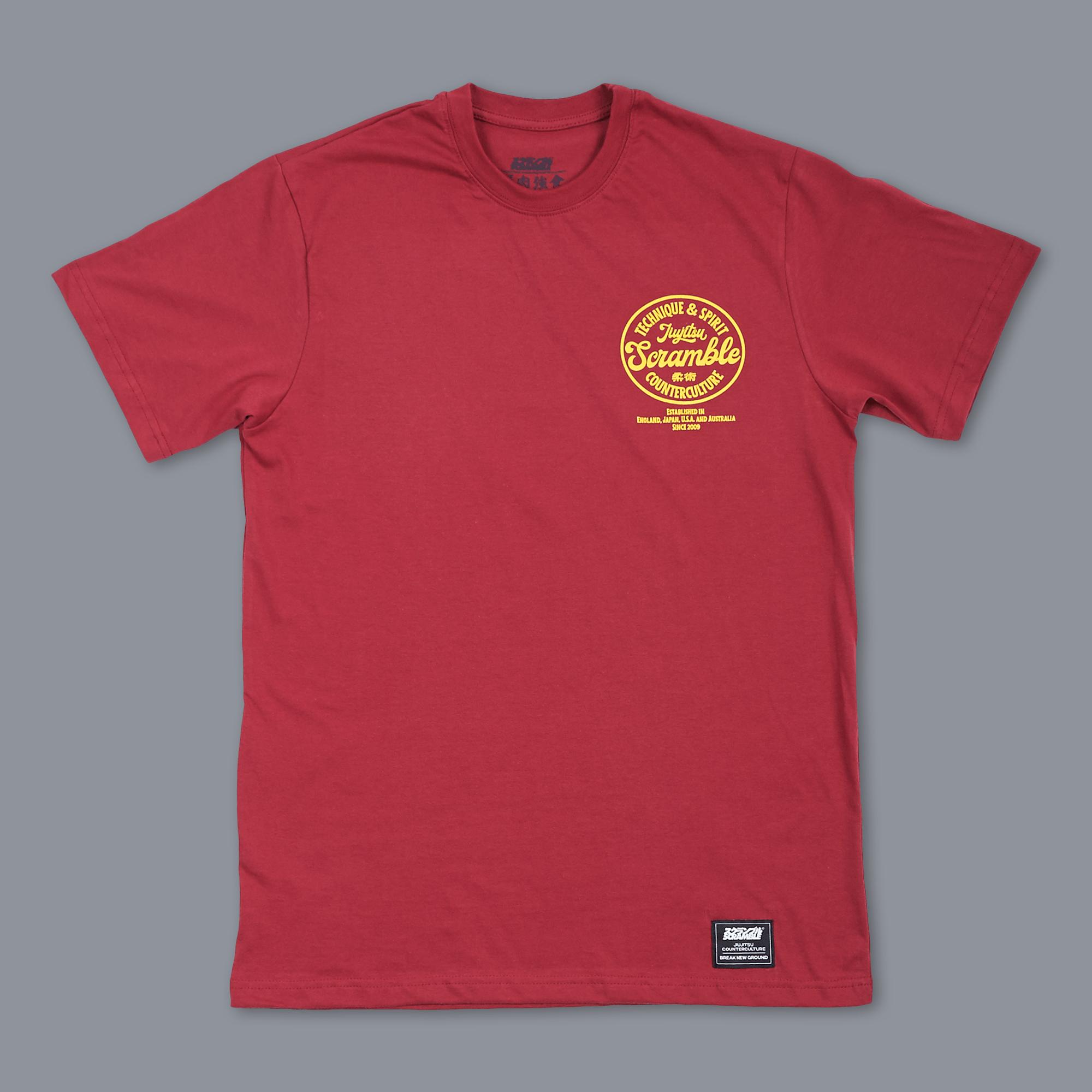 SCRAMBLE TECHNIQUE & SPIRIT TEE – RED 格闘技、柔術Tシャツ