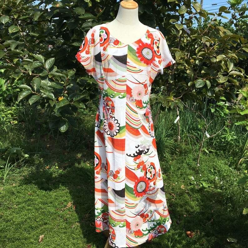 Vintage retro kimono dress/ US 8