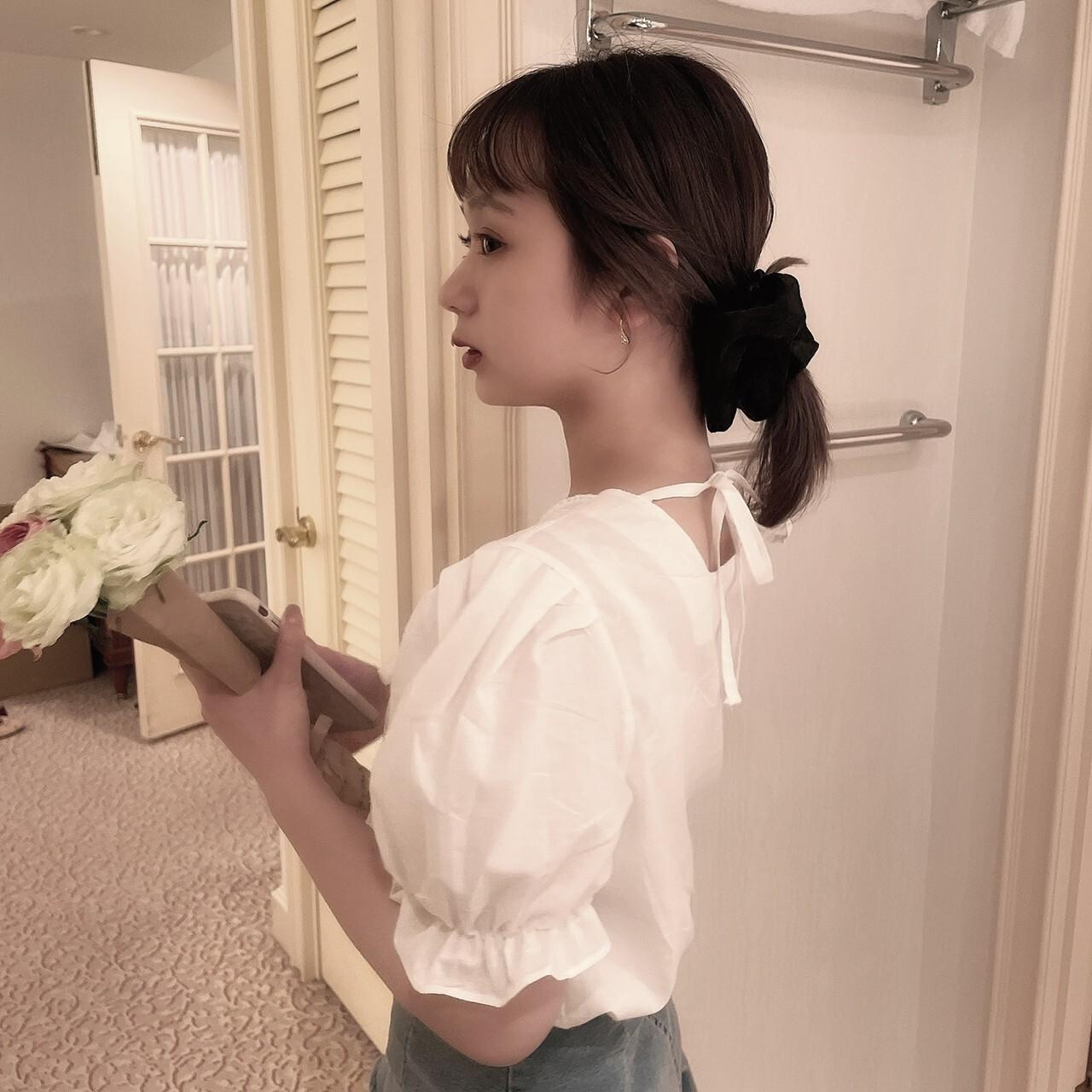 LAST2【meltie】cotton lace ribbon blouse