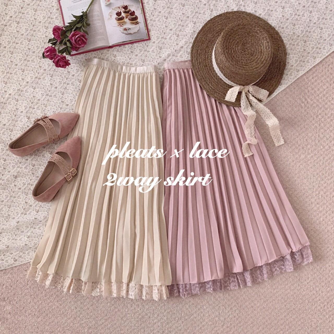 【meltie】pleats × lace 2way skirt