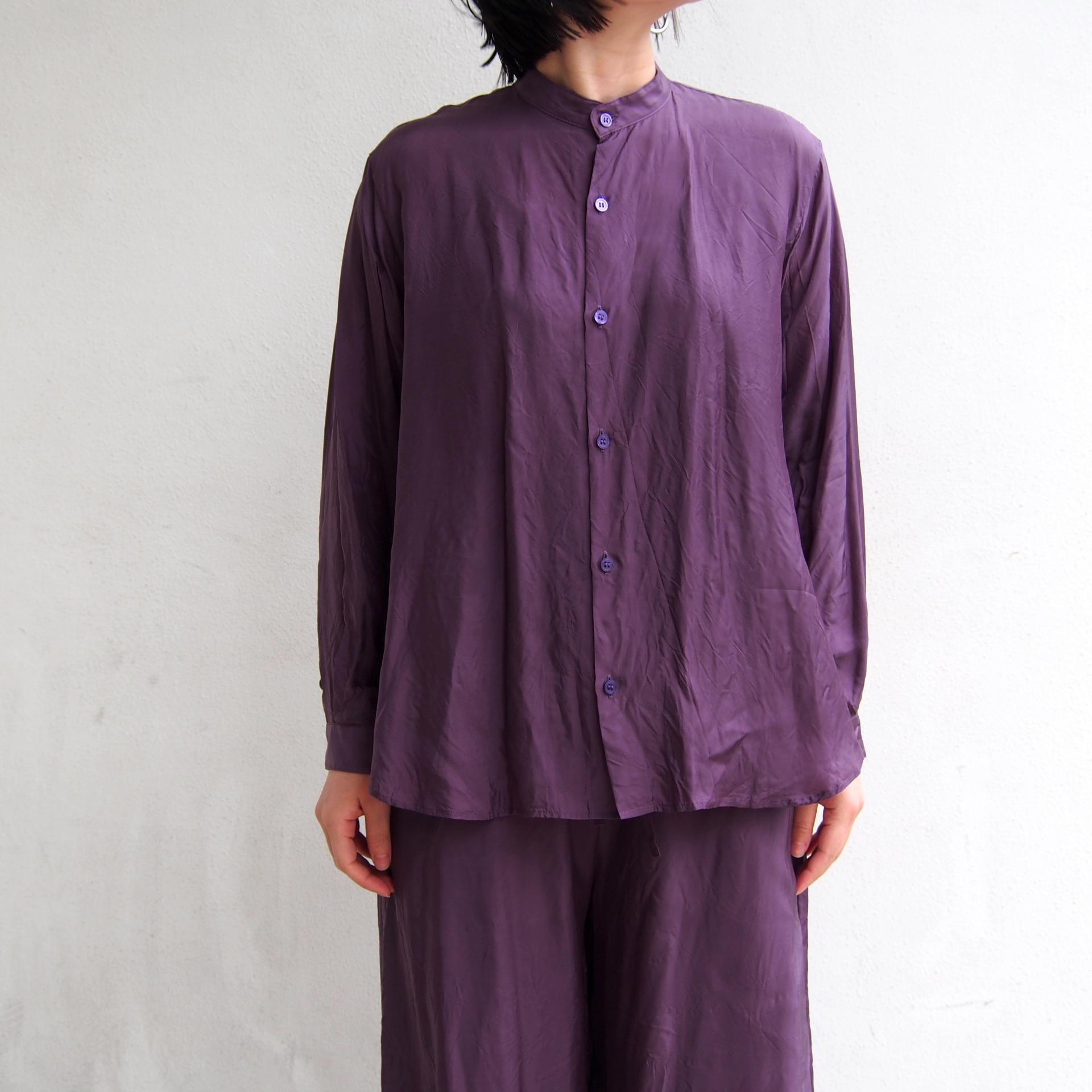 【hippiness】cupro A line shirt (122purple)/【ヒッピネス】キュプラ Aライン シャツ(122パープル)