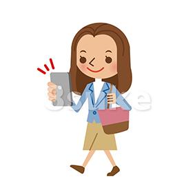 イラスト素材:スマートフォンを操作しながら歩く若い女性(ベクター・JPG)