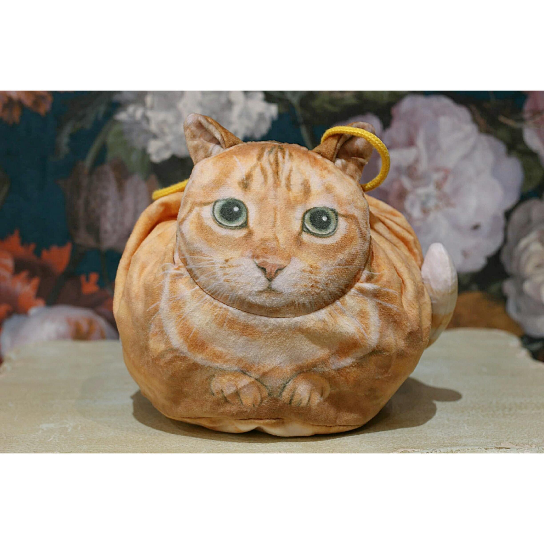 茶トラネコ/真ん丸猫の巾着袋/浜松雑貨屋 C0pernicus