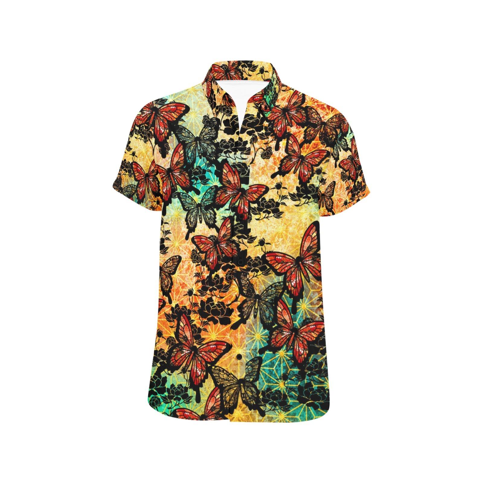 家紋と蝶ユニセックス半袖シャツ