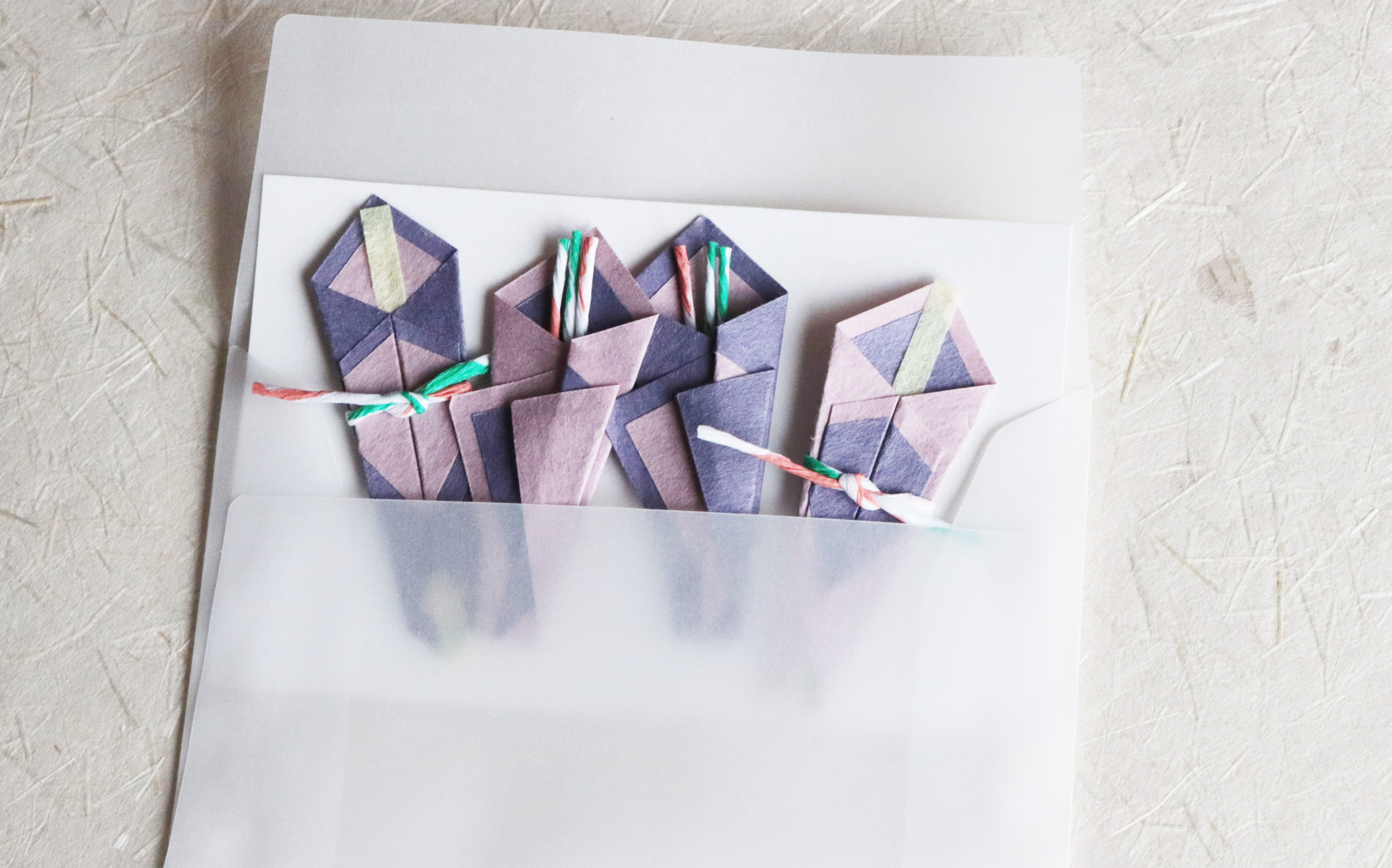 折 -和紙で折った熨斗シール- (緑系色)
