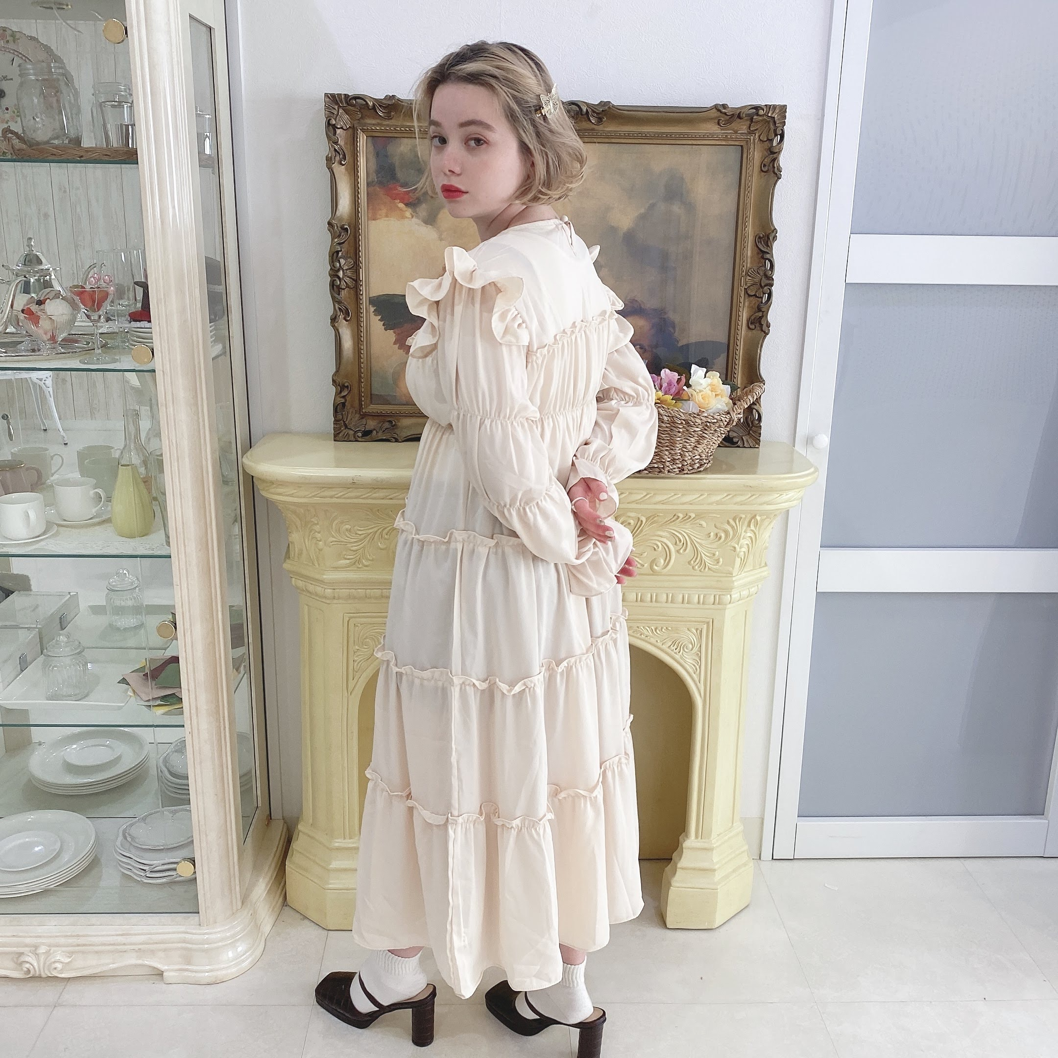 【LAST3】creamy frill dress