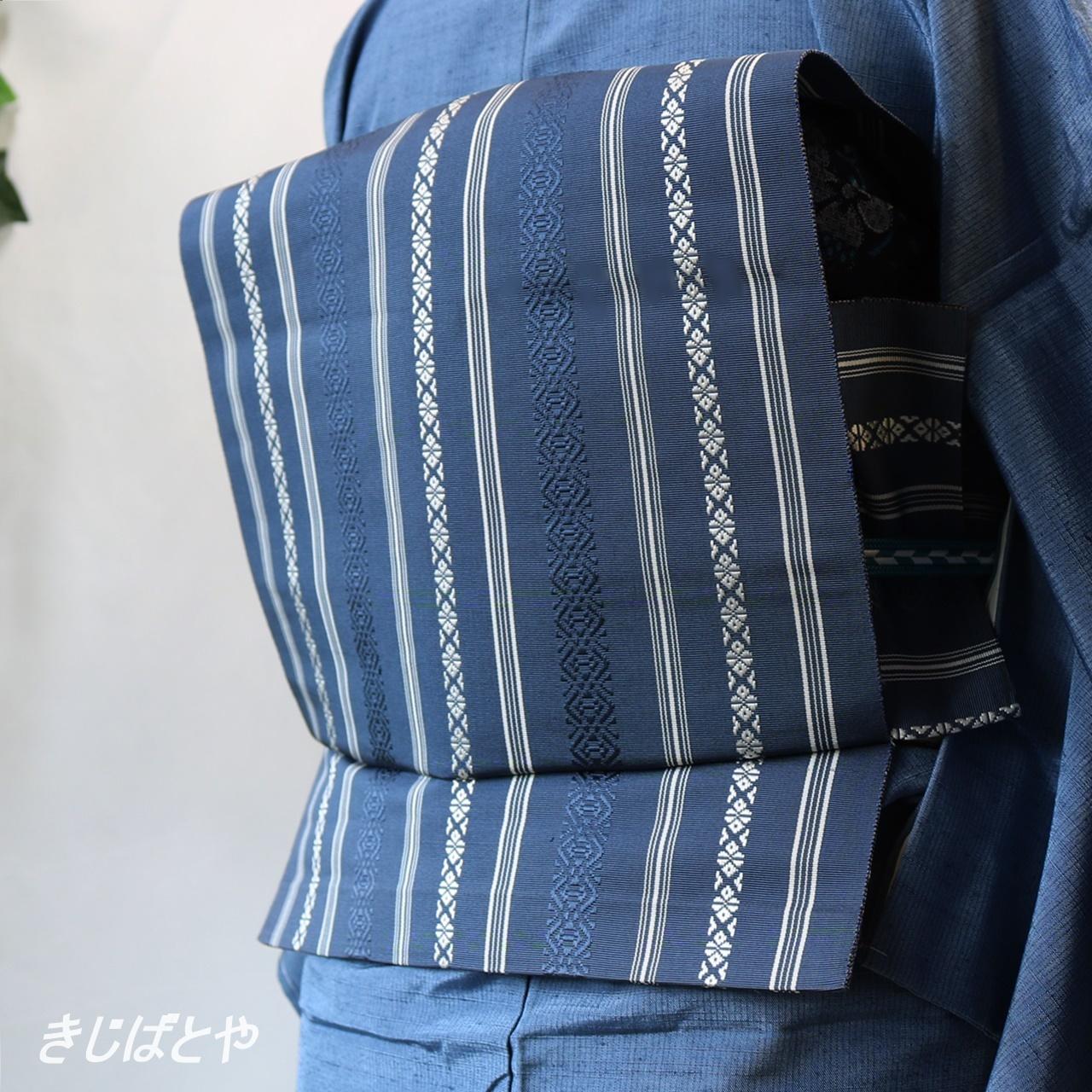 正絹 博多織りの名古屋 紺鉄