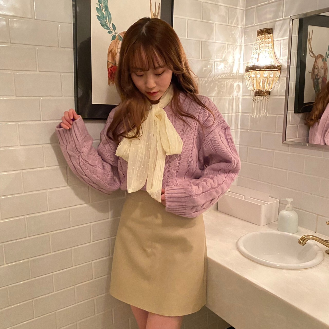 【LAST2】see through ribbon blouse