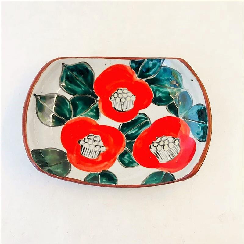 井上工房 6-8 赤椿タイコ絵皿