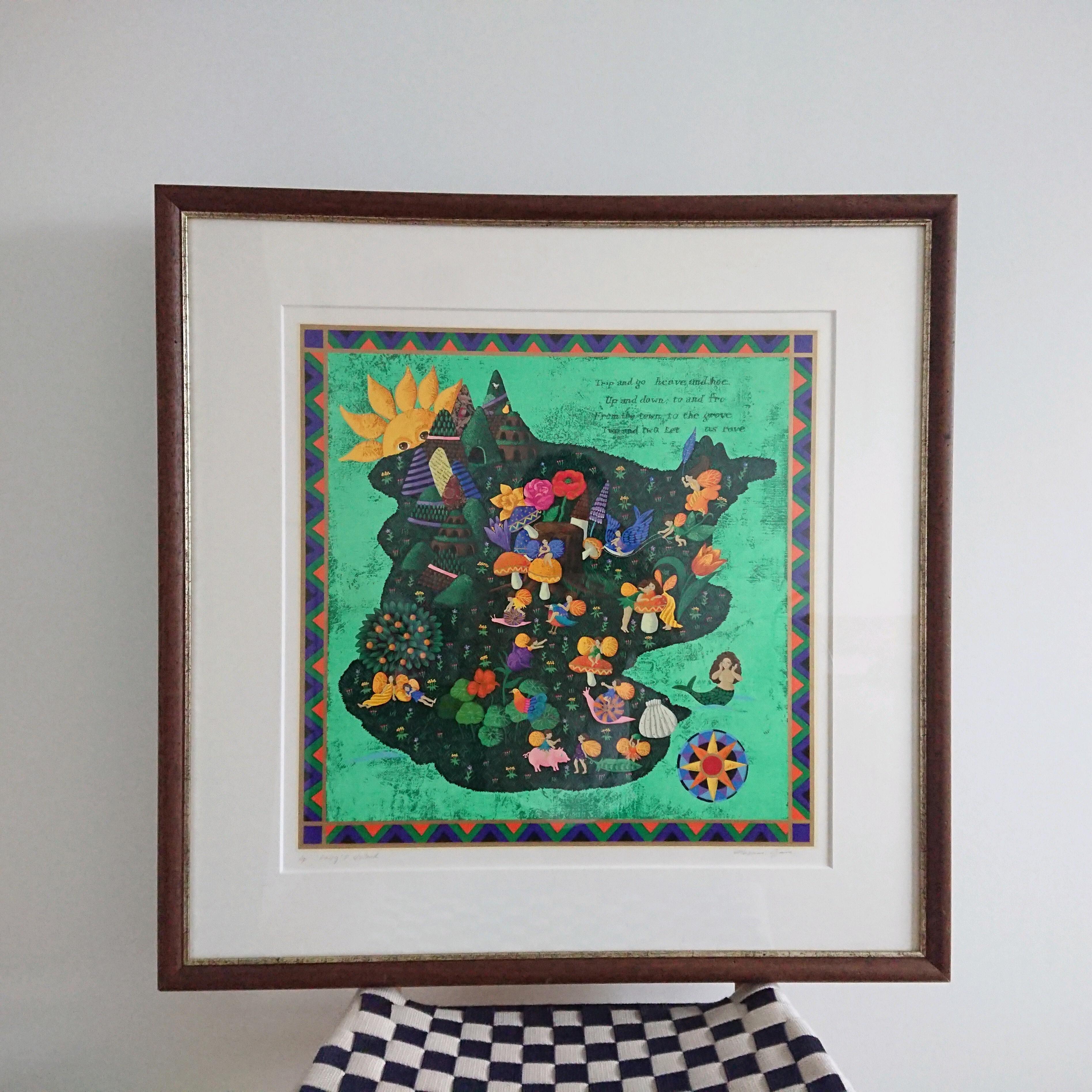 小澤摩純 「Fairy's Island/妖精の島」 シルクスクリーン  AP版 直筆サイン 額装