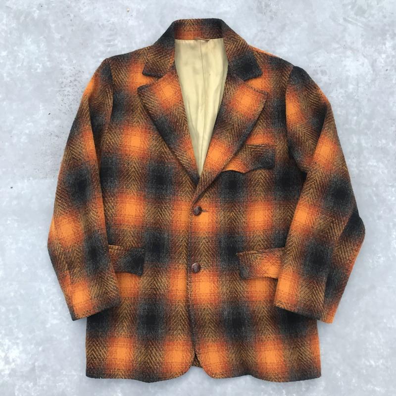 70's PIONEER WEAR パイオニア オンブレチェックウールジャケット オレンジ クルミボタン 38 希少 ヴィンテージ