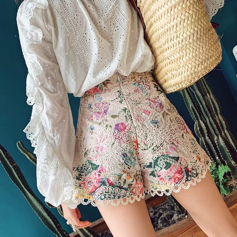 flower lace short pants