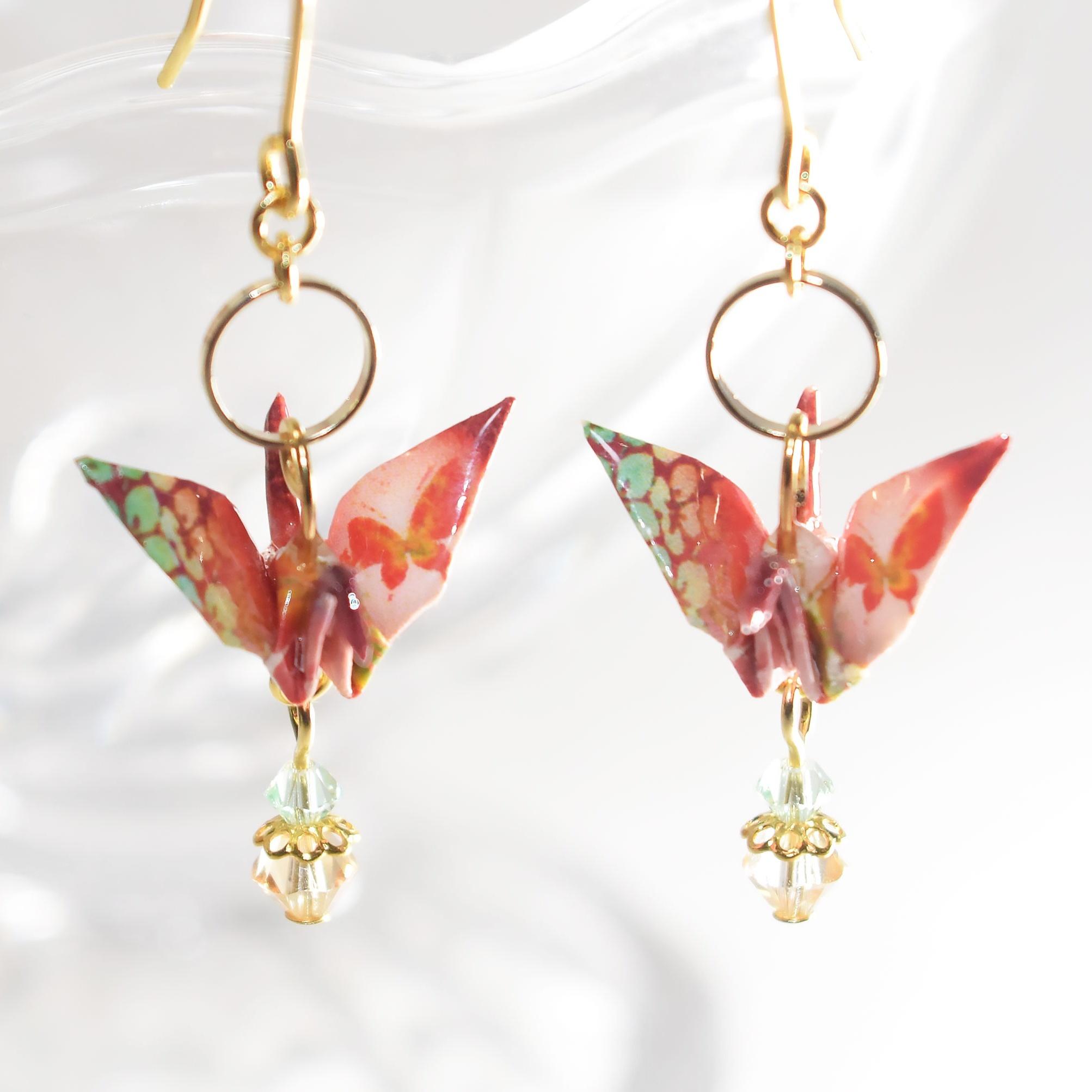 紫陽花と蝶折り鶴 朱赤