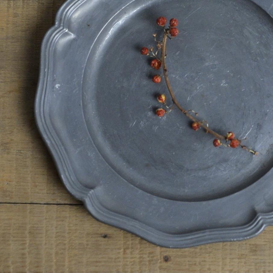 Pewter Plate / ピューター プレート〈お皿・トレイ・器・花リム〉 112227