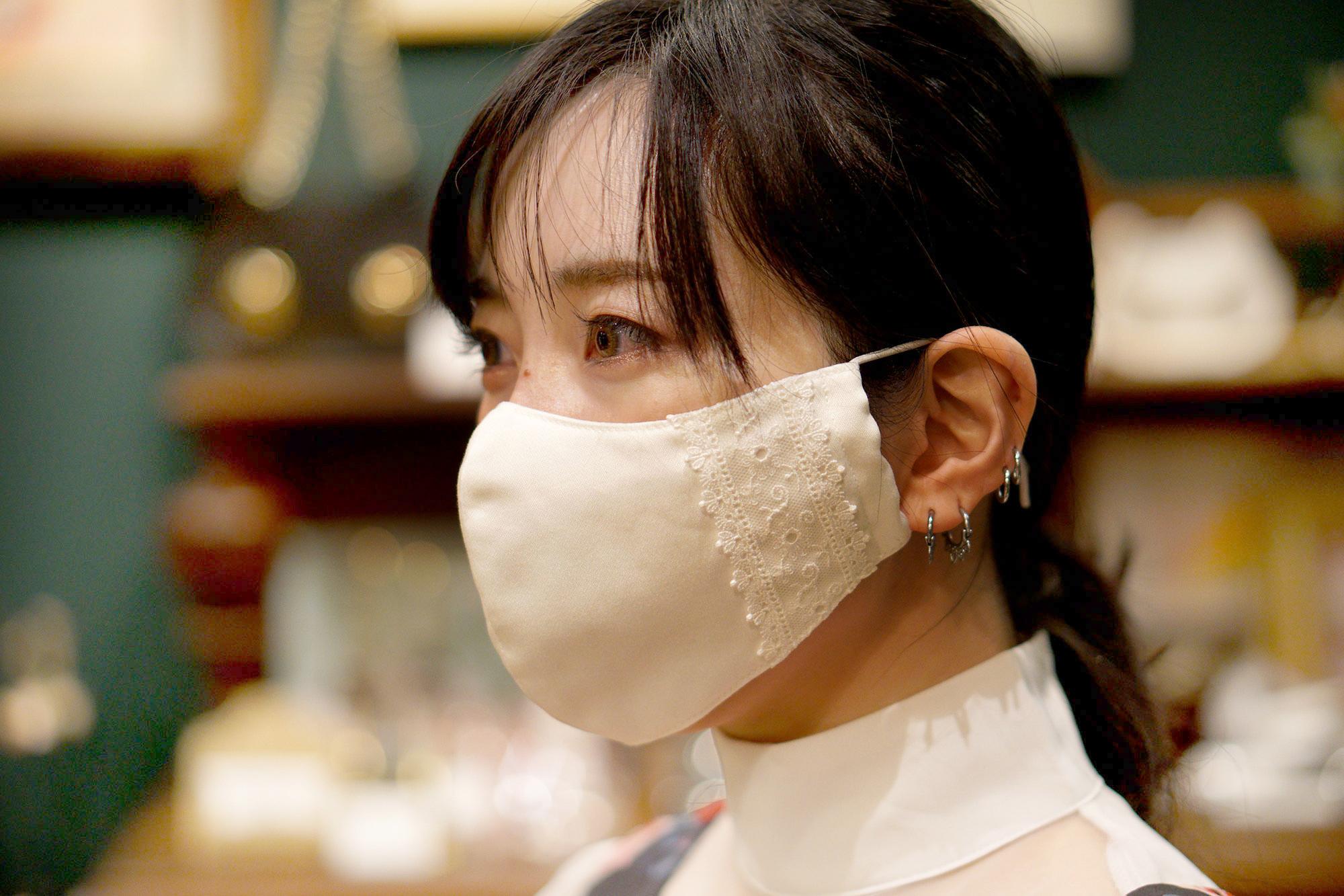 オフィスカジュアルのためのレース付き布マスク・ロングタイプ/オフホワイト