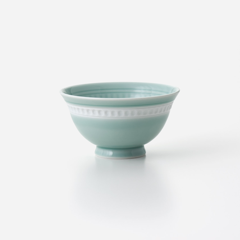 No.155 青磁印花 口反り飯碗
