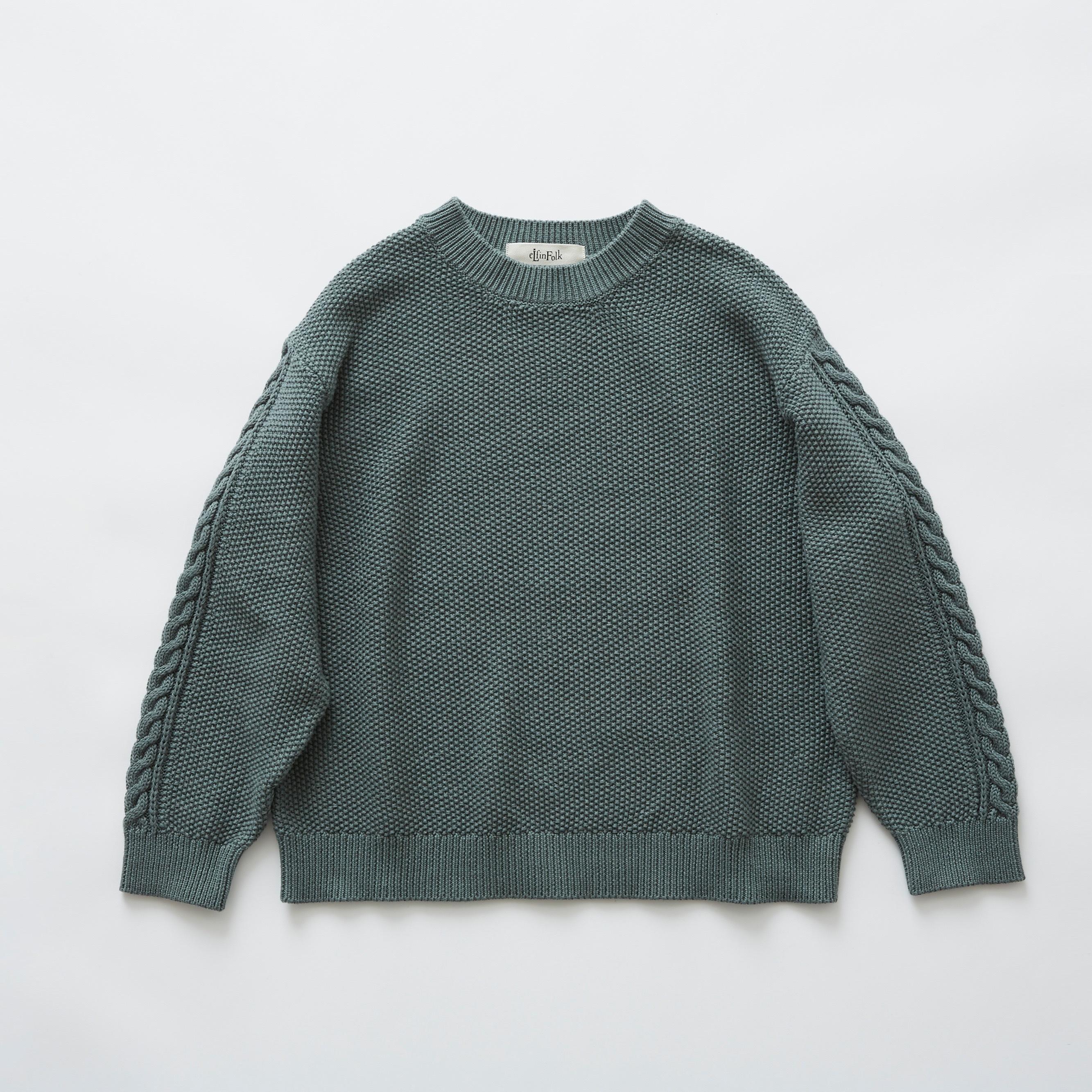 《eLfinFolk》moss stitch sweater / sage green / 110・130cm