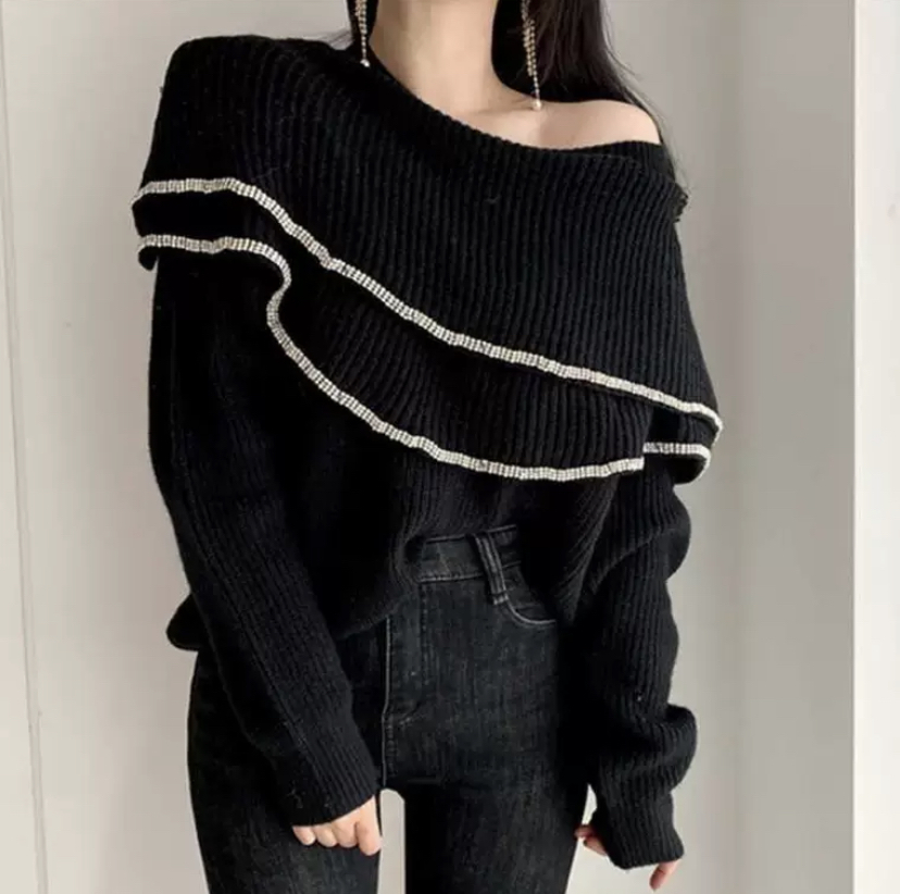 volume frill knit 2color