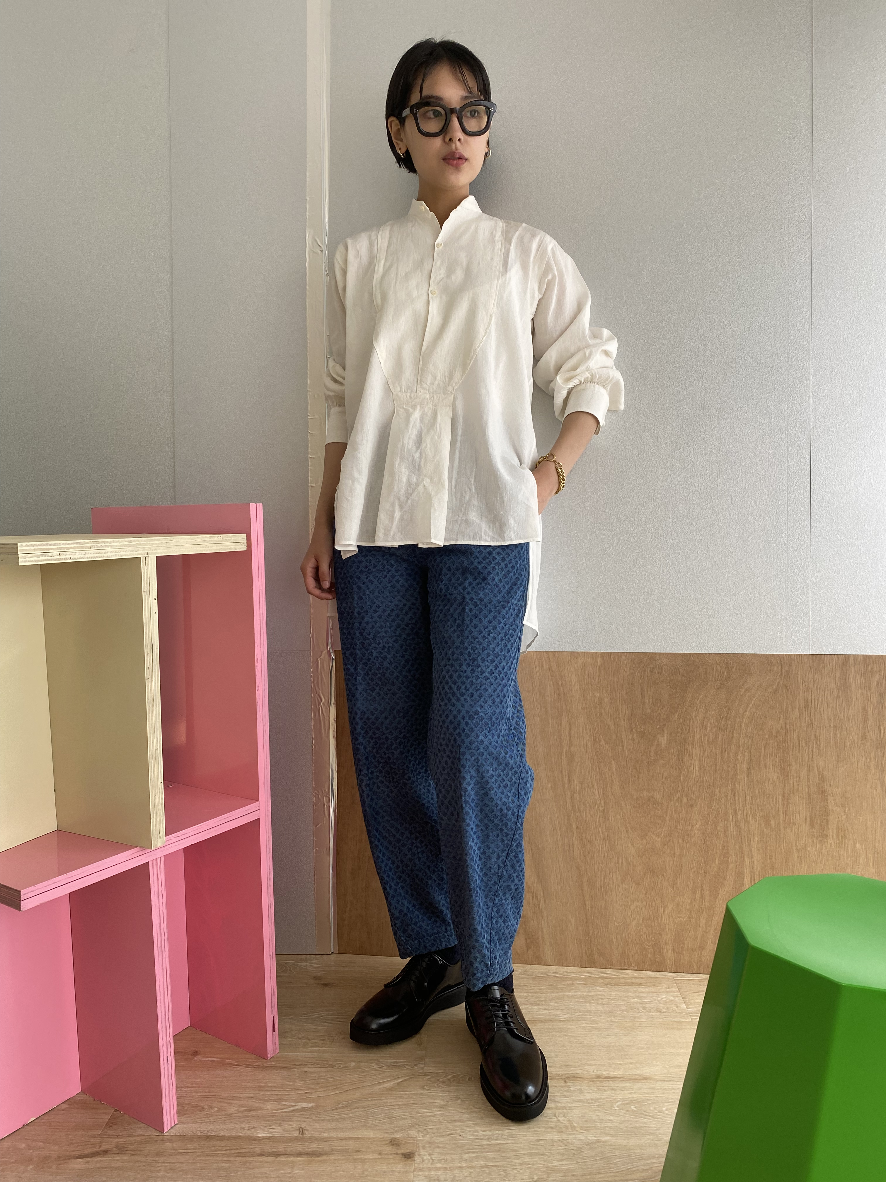 """Pullover gather blouse """"Natural white"""" linen & silk"""