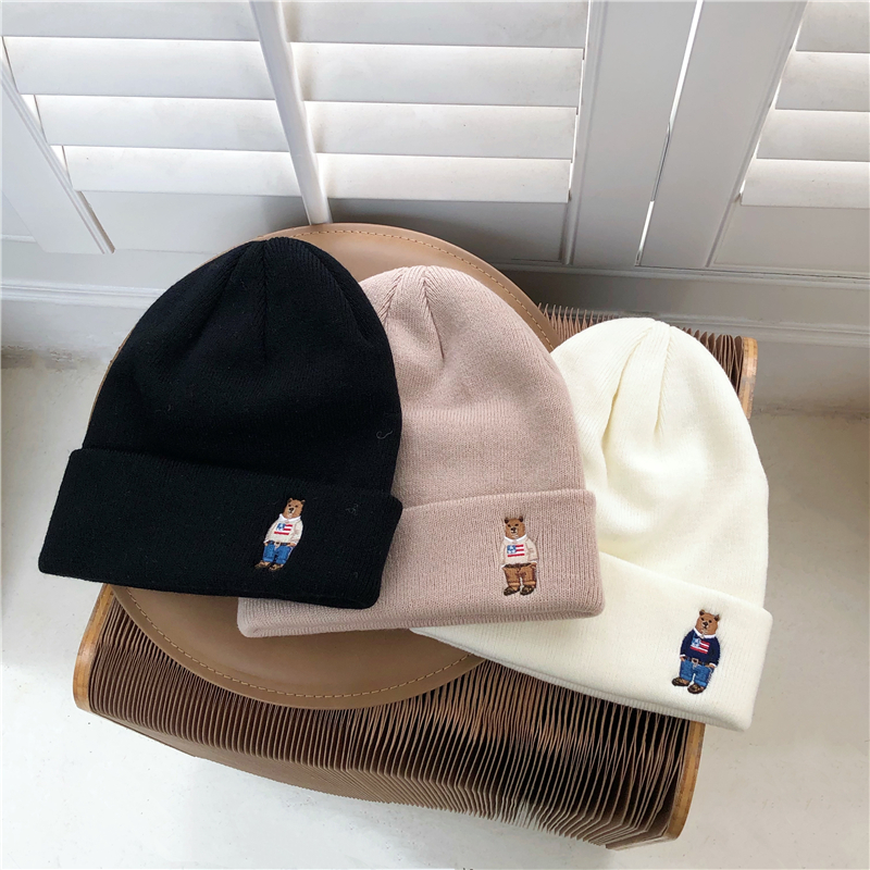 〈カフェシリーズ〉レトロなくまさんのニット帽【retro bear knit hat】