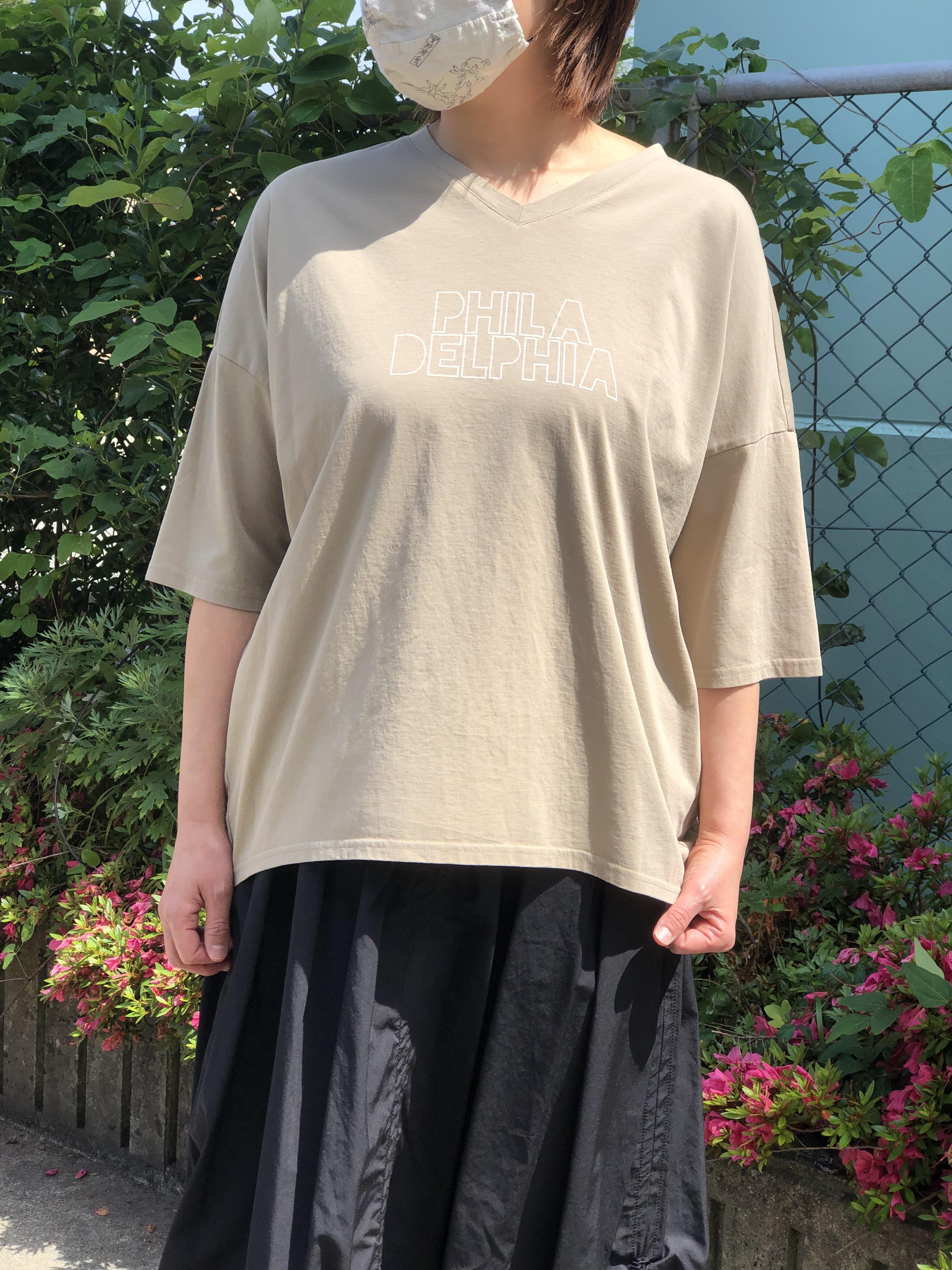 PASSIONE/126465/VネックTシャツ(ベージュ)