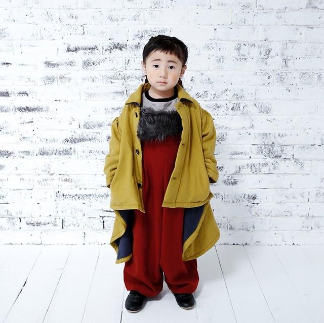 michirico ミチリコ Back fleece coat kids col.:Mustard size:L(115-130)・XL(130-140)