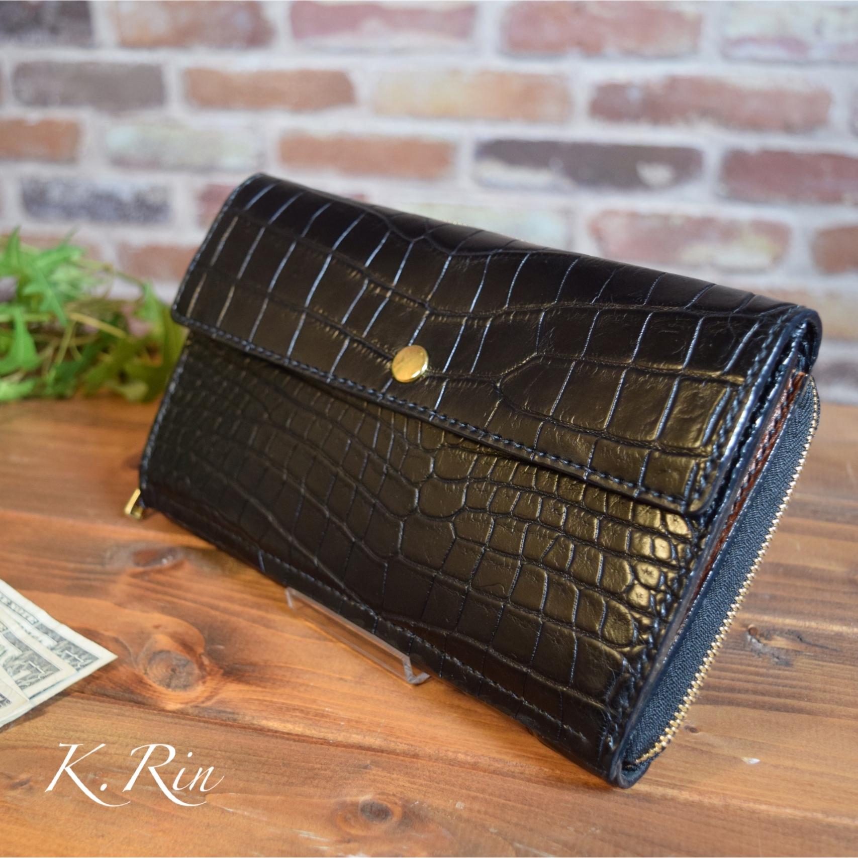【オーダーメイド制作例】ワニ革のクラッチ財布  (KA117b1)