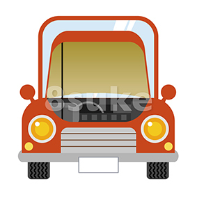 イラスト素材:ボンネットの開いた赤い車(ベクター・JPG)