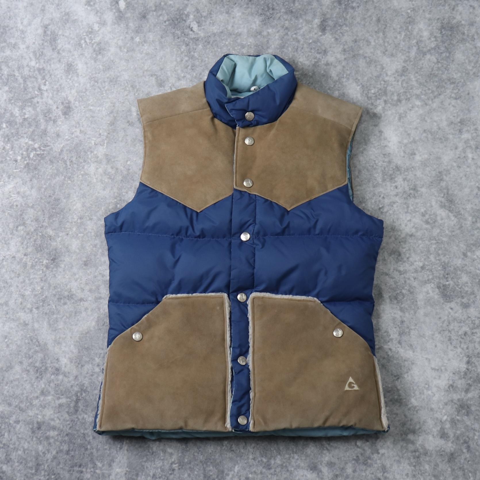 80's GERRY Down vest 80年代 ジェリー ダウンベスト ウエスタンヨーク アウトドア アルパイン スエード切り替え スウェード Made in U.S.A. 古着 A567