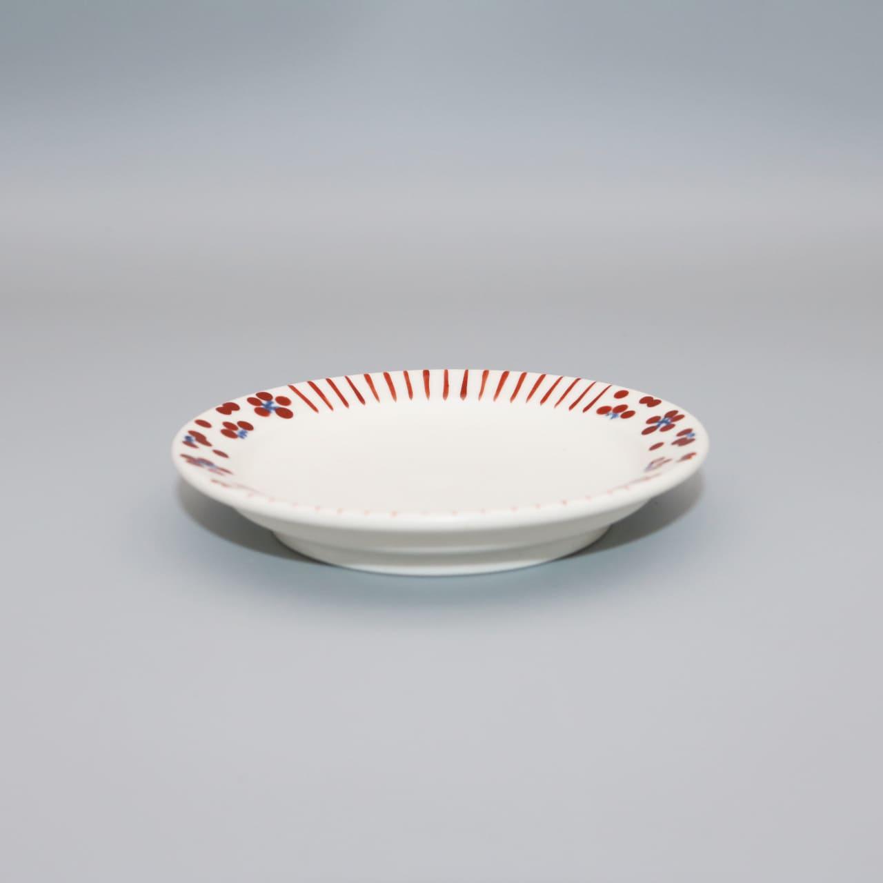 砥部焼 すこし屋松田窯 豆皿 mix赤・mix青