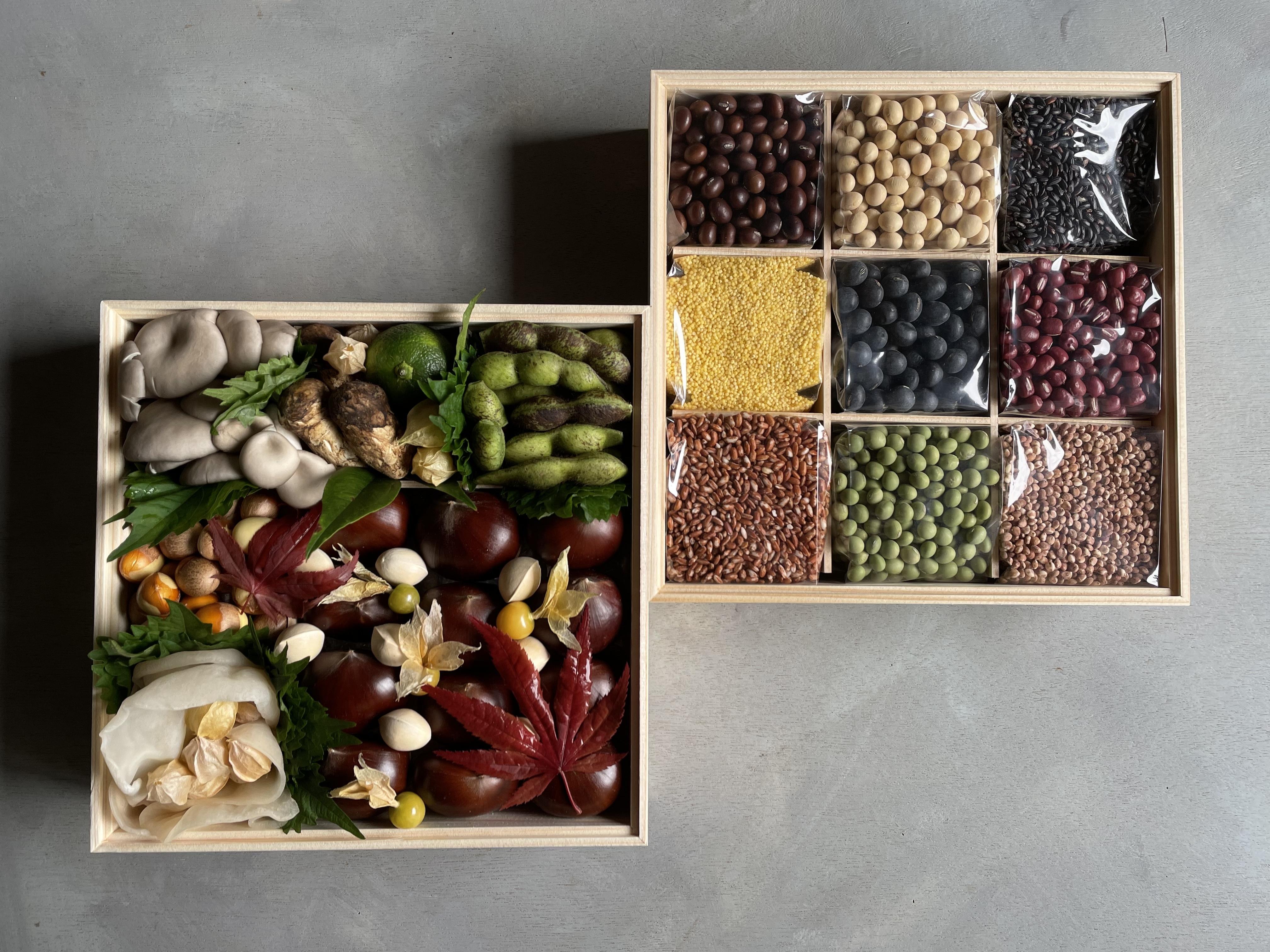 京の野菜重と丹波穀の重 二段重