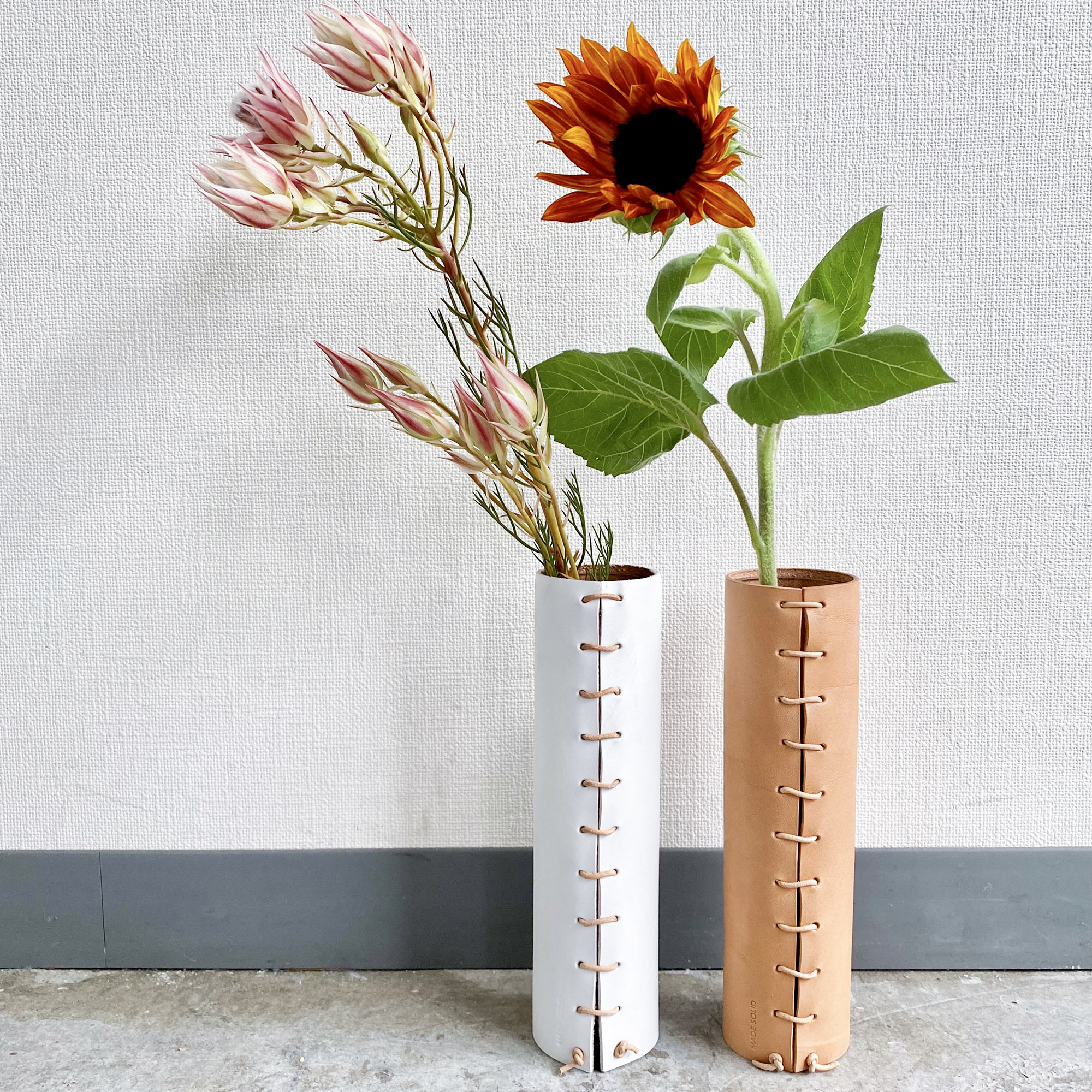 Made Solid leather wrapped vase_skinny