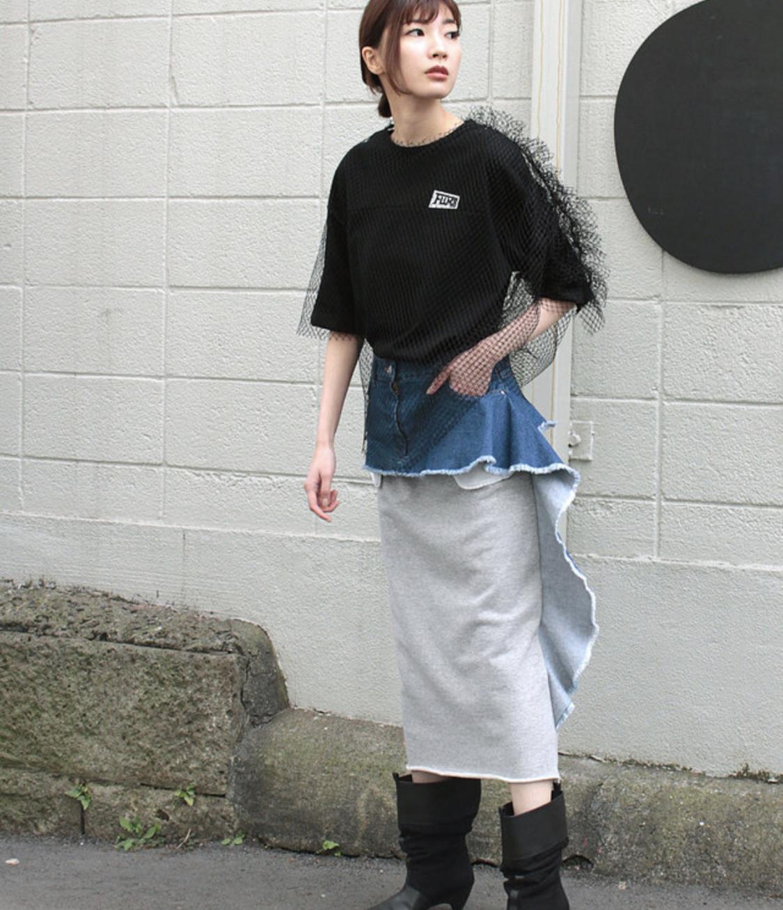 FLUMOR  Denim ×Sweat skirt