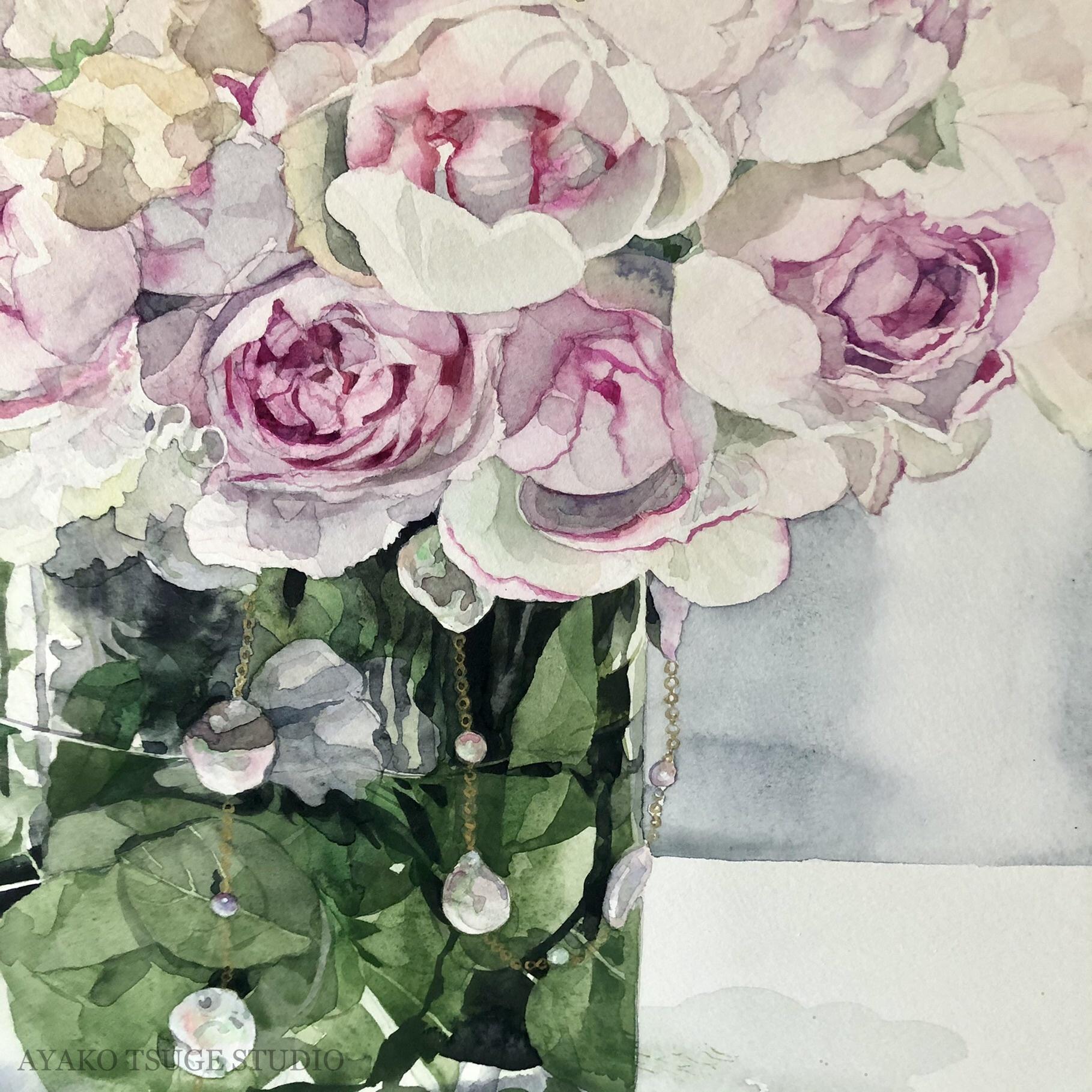 単発参加 東京水彩サロン 季節のバラのブーケとキャンドルorビジューを描く全6回
