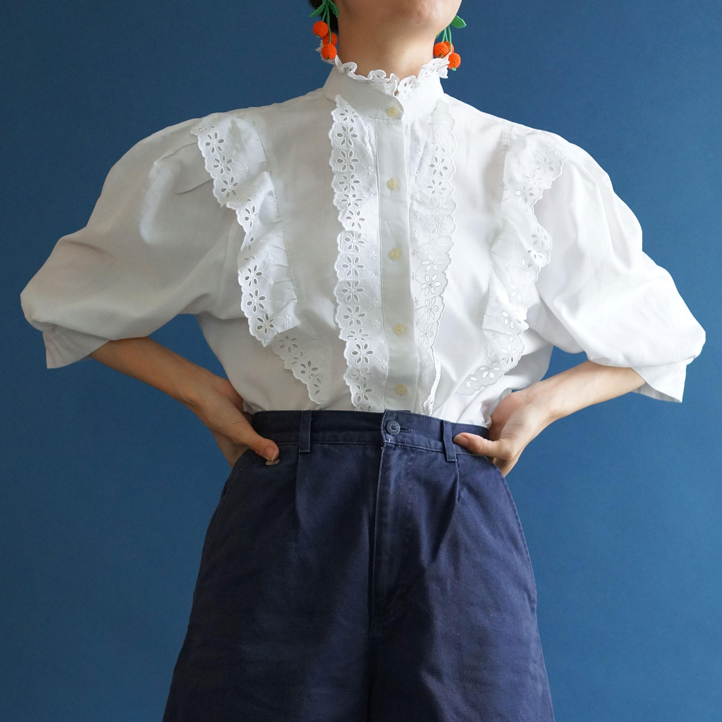 【送料無料】70's-80's Vintage cotton frilly short blouse