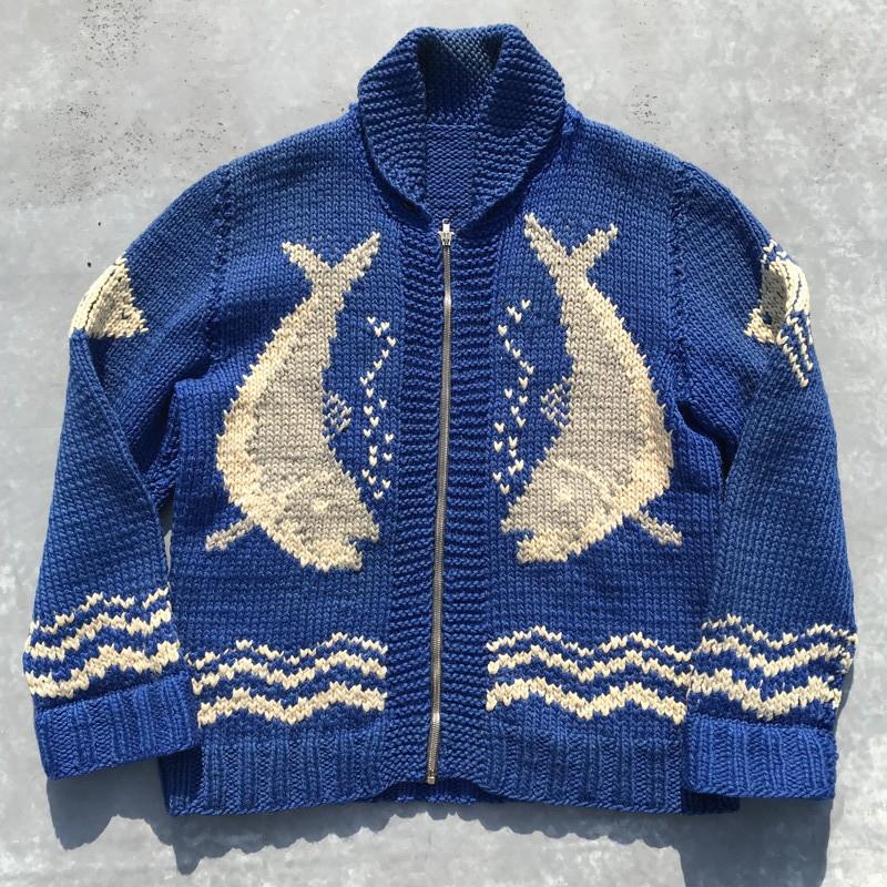 50's 60's UNKNOWN カウチンニットセーター シャケ 鮭 ブルー FLASHジッパー L位 希少 ヴィンテージ
