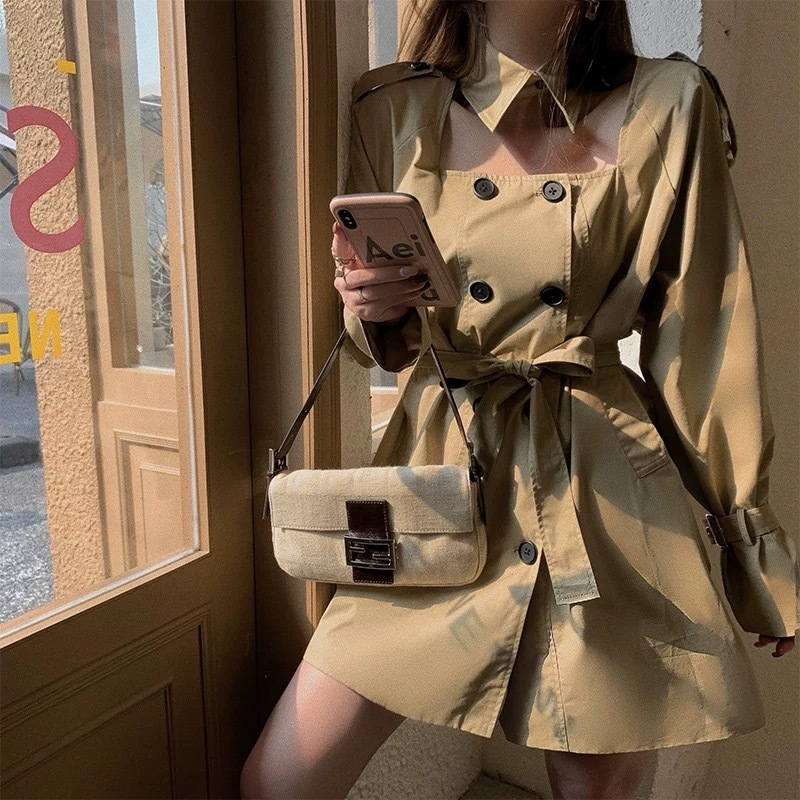 design collar brown dress