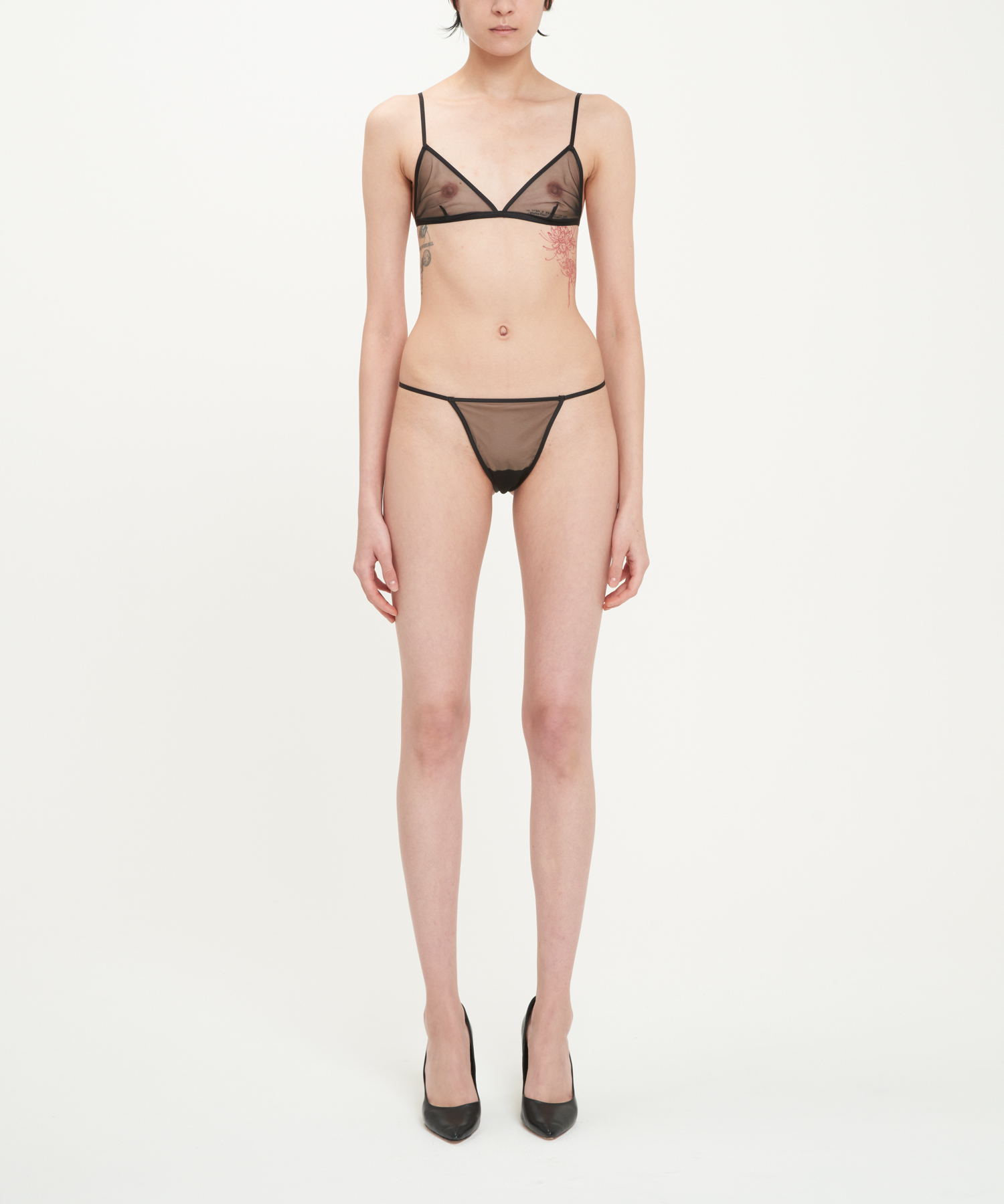 Black Sheer Stretch Tulle Bra And Thong