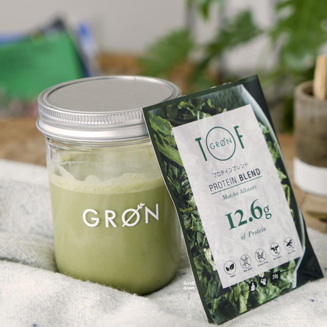 厳選された食材のみを使用したプロテイン【GRON抹茶オールスターズ240g】