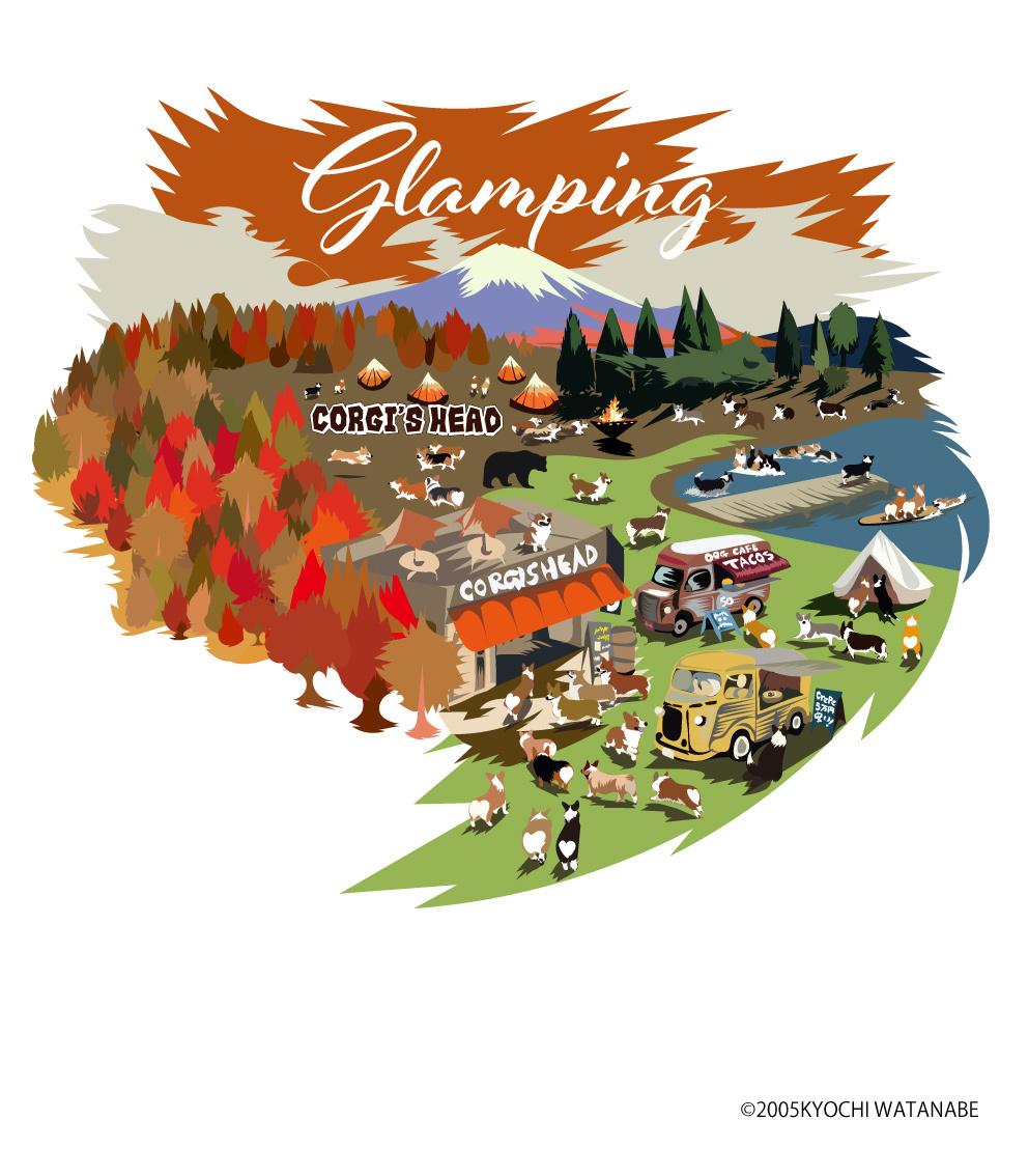 No.2021-Towel-031(ハンドタオル) :  秋のグランピング コーギーズ 紅葉と湖とカフェ 昼間バージョン   ハンドタオル
