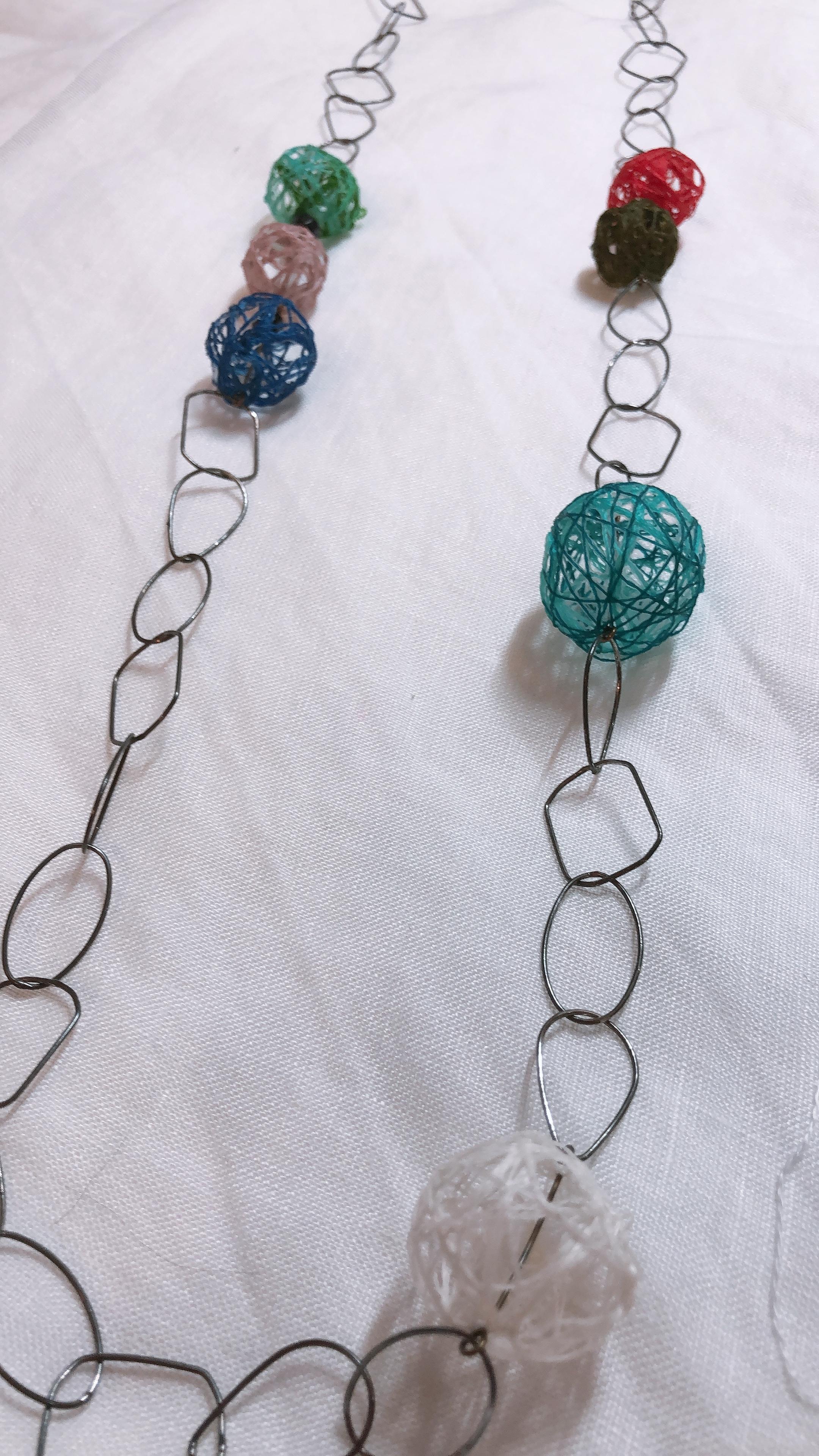 絹糸玉ネックレス
