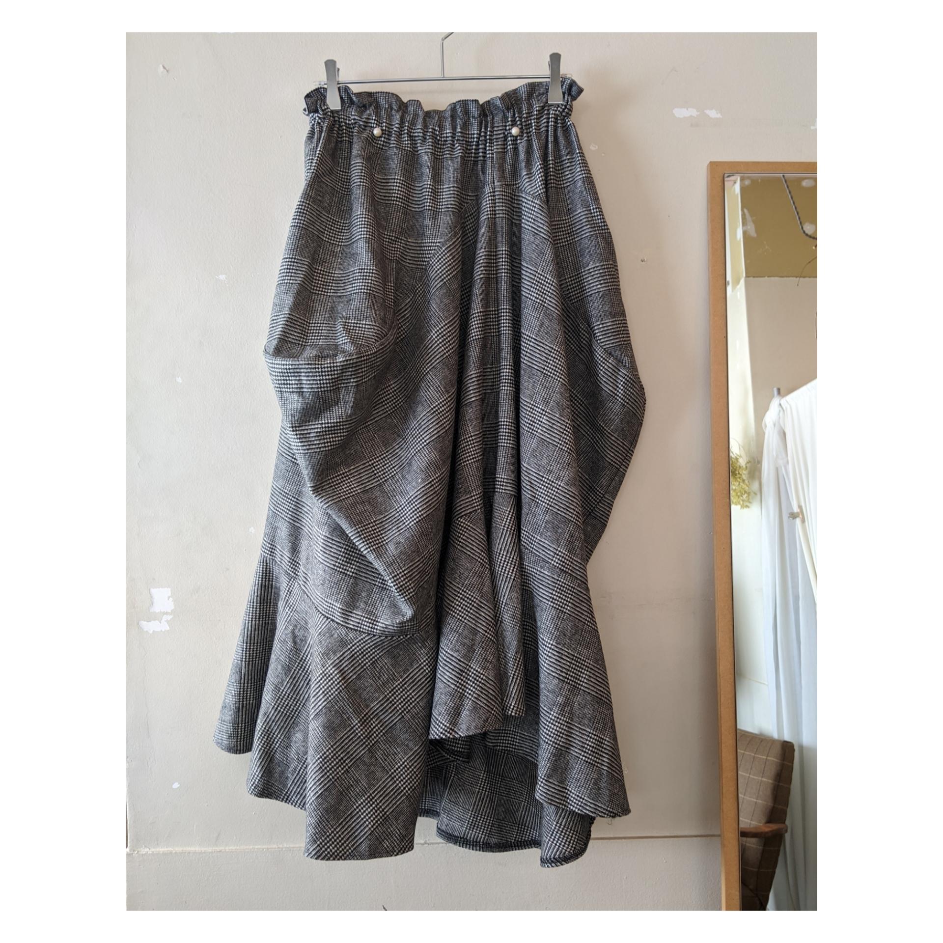 【 HOUGA 】ホウガ twiddle skirt / クラシックチェック / チェック柄 / ドレープロングスカート