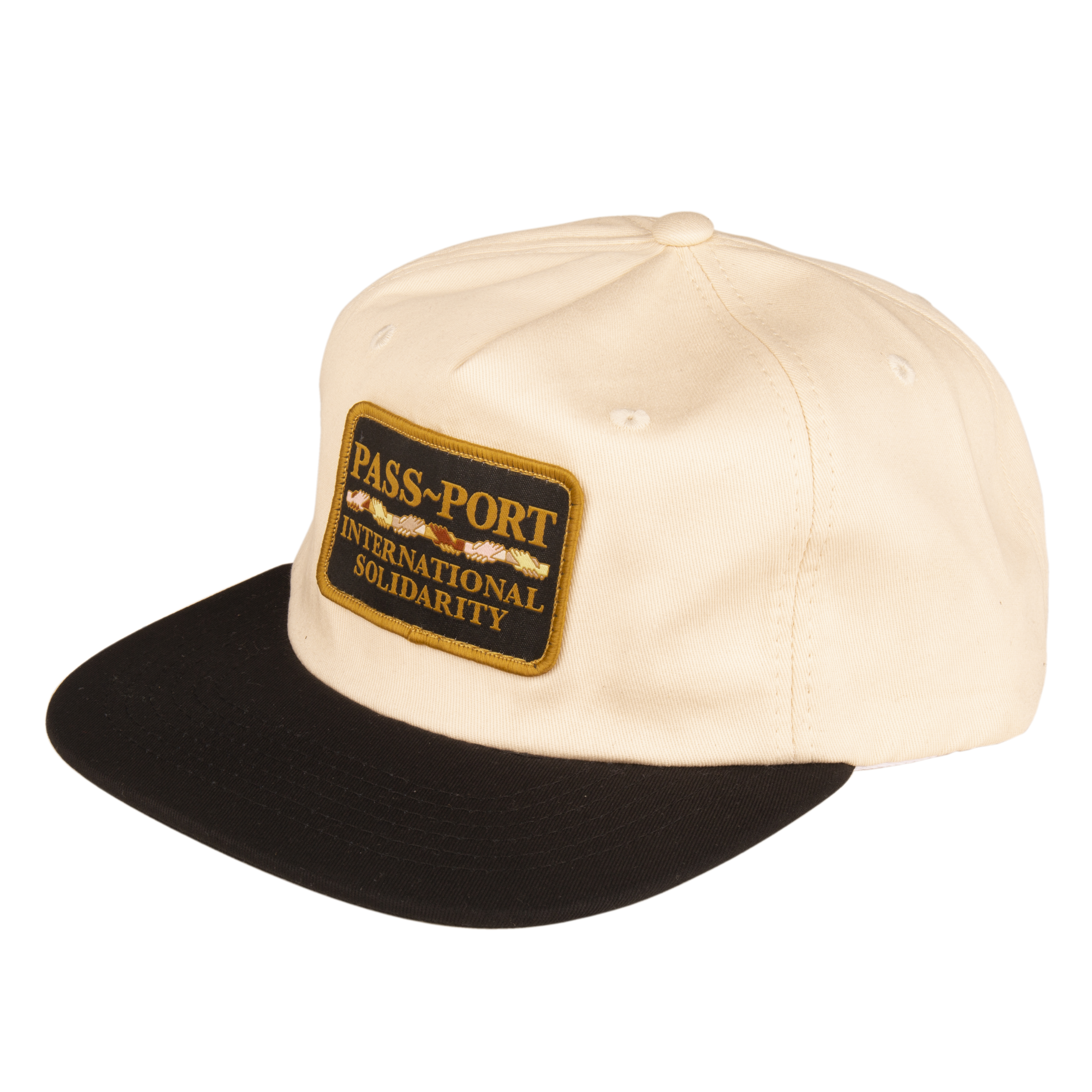 PASS~PORT INTER SOLID PATCH 5 PANEL CAP NATURAL/BLACK