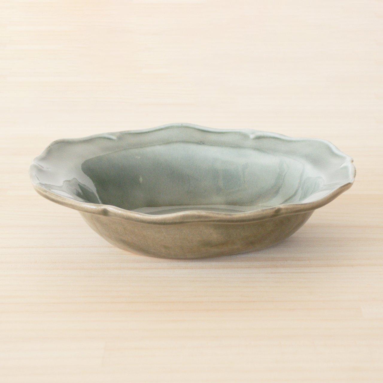益子焼 わかさま陶芸 フリル鉢 ボウル 皿 丸 小 約20cm グレー釉 256258