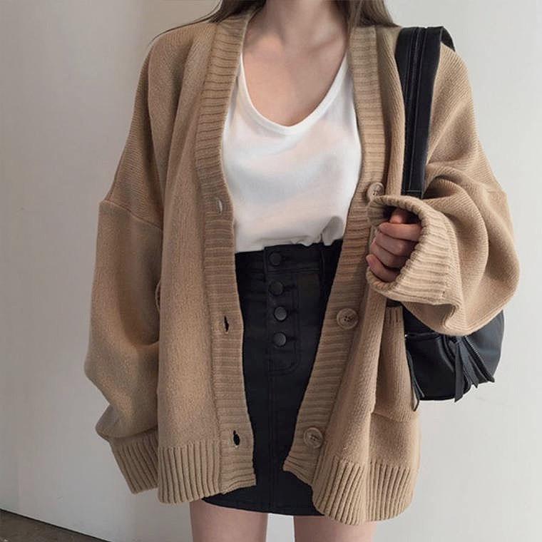 knit simple cardigan 2color