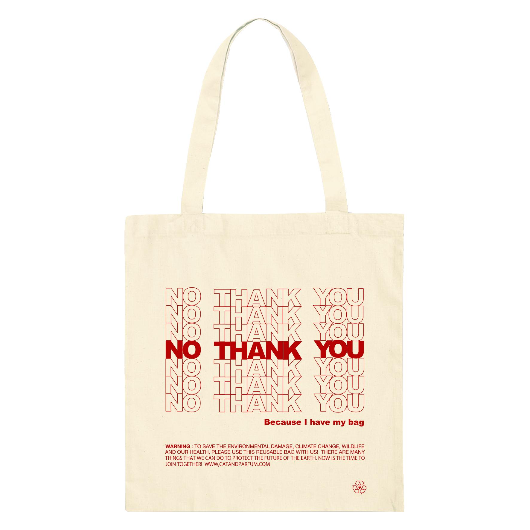 【Cat & Parfum】NO THANK YOU Eco Tote Bag