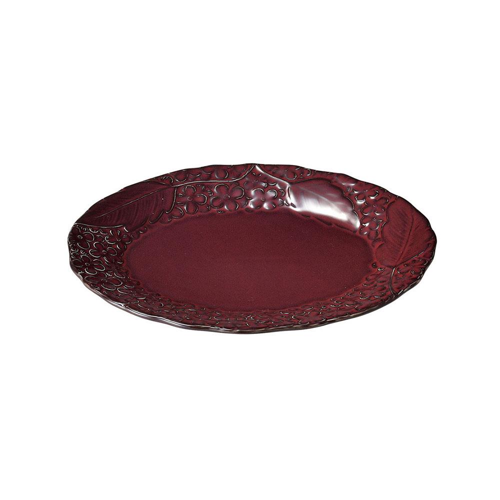 「リアン Lien」オーバルプレート 皿 長幅約25cm パープル 美濃焼 267833