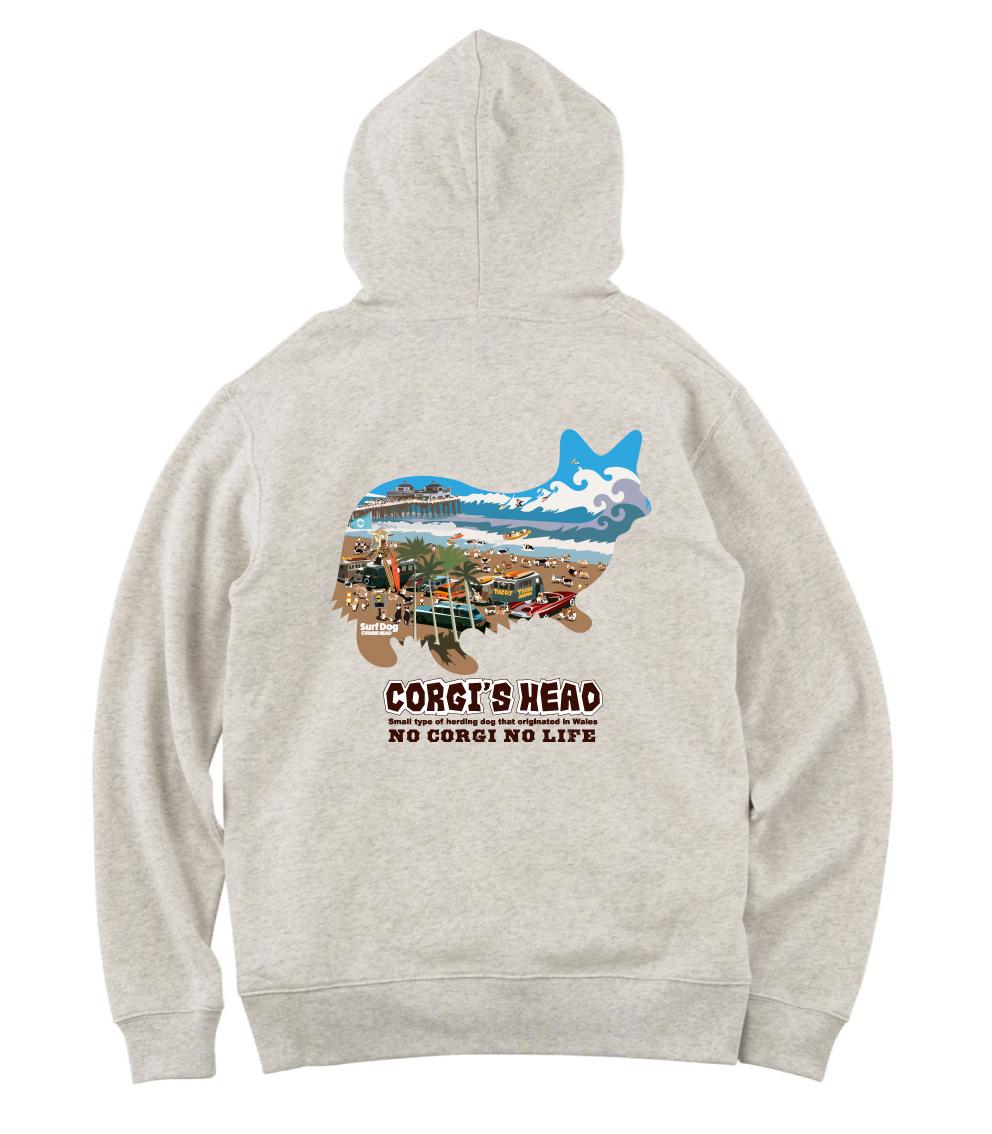 販売終了いたしました!No.2021-SummerPaka-008b 夏限定販売(7/31まで)プルオーバーパーカー:  コーギーたちのサーフィン大会会場Tシャツ 8.4oz 薄手のプルオーバーパーカー