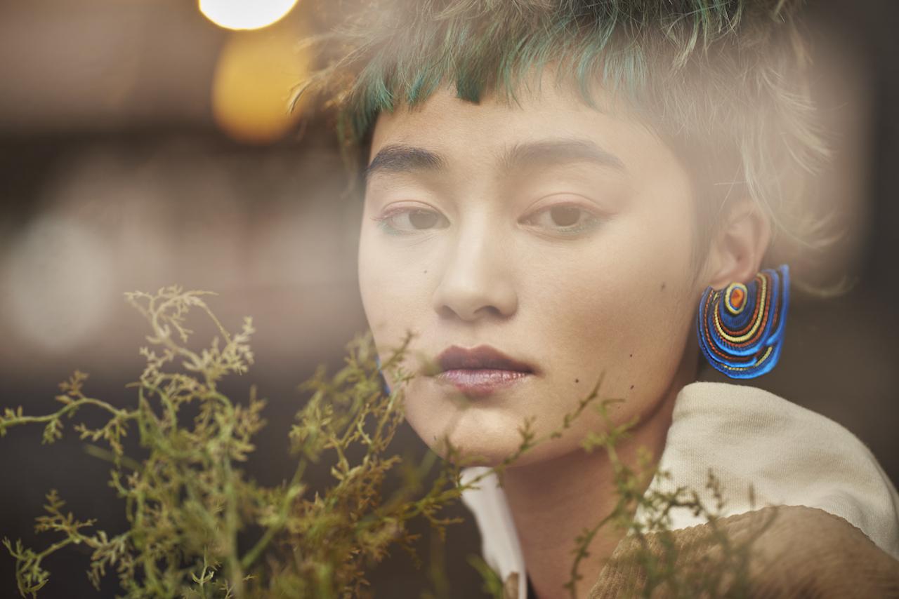 ARRO / Embroidery earring / Turkey Tail / blue