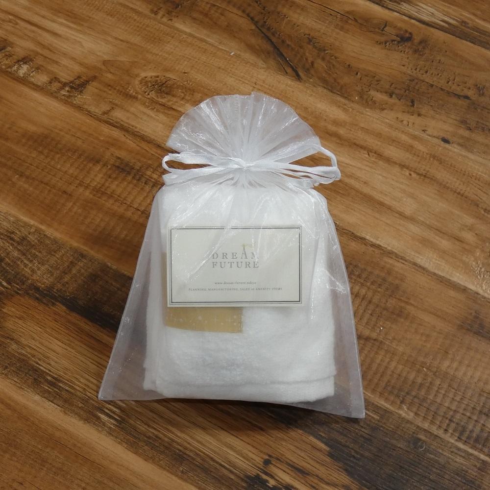 オーガンジー巾着袋入り 無撚糸高級フェイスタオル1枚SET Star White(純白のやすらぎ)